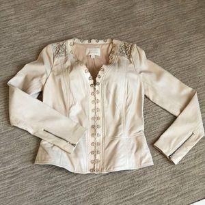 Hinge laser cut leather jacket size S